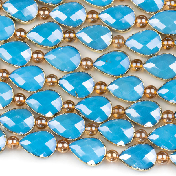 Crystal 13x18mm Opaque Turquoise Blue Faceted Teardrop Beads with Golden Foil Edges - 9 inch strand