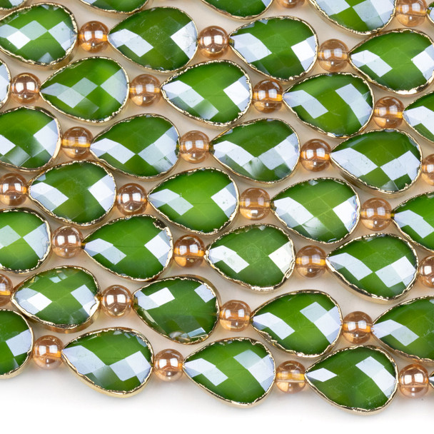 Crystal 13x18mm Opaque Green Faceted Teardrop Beads with Golden Foil Edges - 9 inch strand
