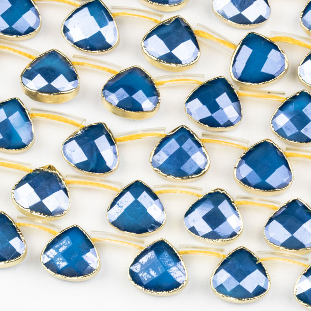 Crystal 12x13mm Opaque Navy Blue Faceted Top Drilled Teardrop Beads with Golden Foil Edges - 7 inch strand