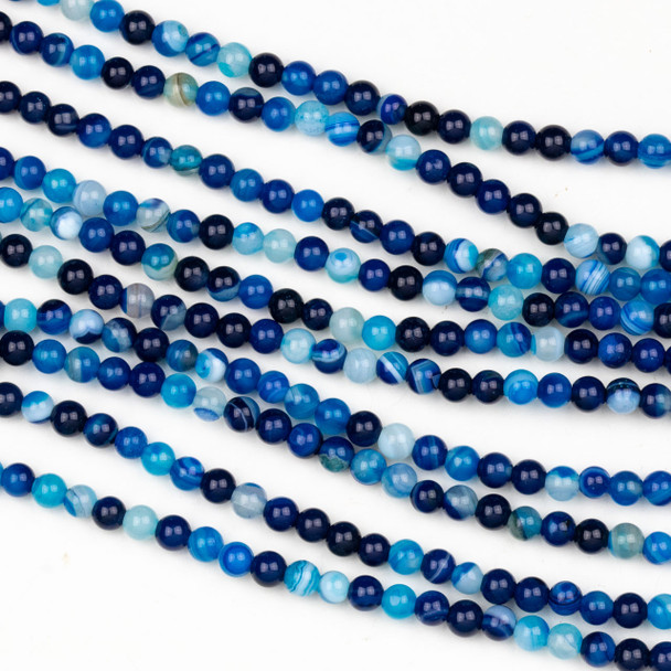 Dyed Agate 4mm Bright Blue Round Beads - 15 inch strand
