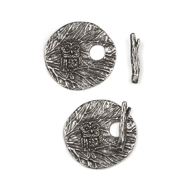 Green Girl Studios Pewter 25x26mm Owl Branch Toggle with 4x18mm Bar - 1 per bag