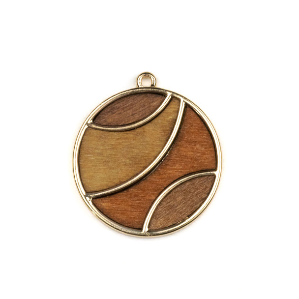 Mosaic Aspen Wood & Gold Colored Pewter 30x33mm Coin Pendant - 1 per bag