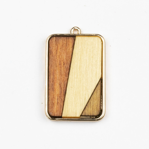 Mosaic Aspen Wood & Gold Colored Pewter 24x38mm Rectangle Pendant - 1 per bag