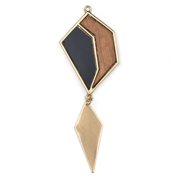 """Mosaic Aspen Wood & Gold Colored Pewter 35x54mm Free Form Pendant with 16x40"""" Gold Kite Dangle - 1 per bag"""