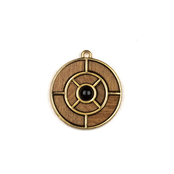 Mosaic Aspen Wood & Gold Colored Pewter 25x27mm Coin Pendant with Glass 4mm Black Round Center - 1 per bag