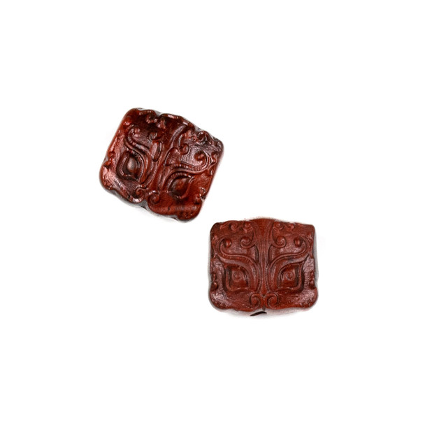 Carved Wood Focal Bead - 15x16mm Sandalwood Rectangle with Chinese Dragon Face, 1 per bag