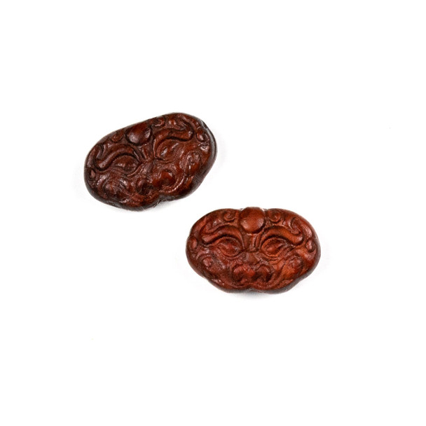 Carved Wood Focal Bead - 13x20mm Sandalwood Oval with Chinese Dragon Face, 1 per bag