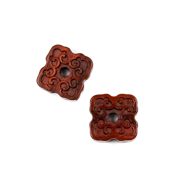 Carved Wood Focal Bead - 16mm Sandalwood Square with Vines and Cutout Center, 1 per bag