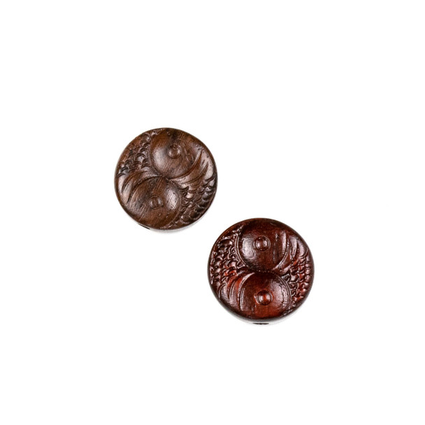 Carved Wood Focal Bead - 15mm Sandalwood Coin with Two Fish, 1 per bag