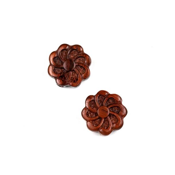 Carved Wood Focal Bead - 16mm Sandalwood Flower #6, 1 per bag