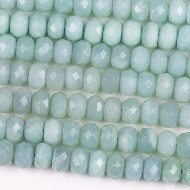Blue Amazonite 5x8mm Faceted Rondelle Beads - 15.5 inch strand