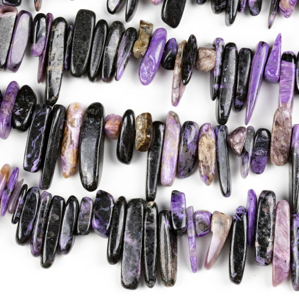 Charoite 5x12-7x30mm Top Drilled Chip/Stick Beads - 16 inch strand