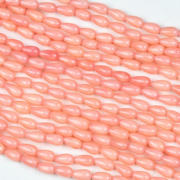 Pink Bamboo Coral 4x7mm Rounded Teardrop Beads - 16 inch strand