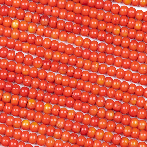 Red/Orange Bamboo Coral 5-6mm Round Beads - 16 inch strand