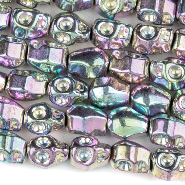 Hematite 8x10mm Electroplated Pink Rainbow Skull Beads - approx. 8 inch strand