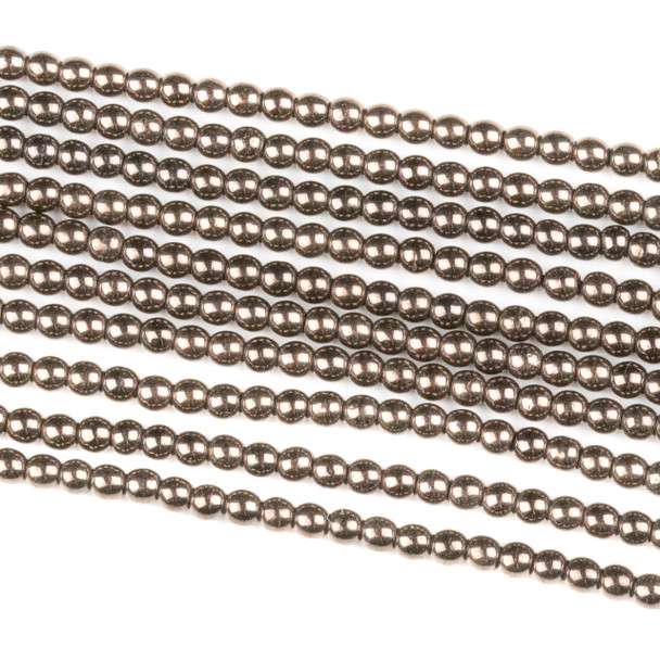 Hematite 2mm Electroplated Bronze Round Beads - approx. 8 inch strand