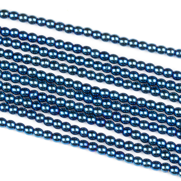 Hematite 2mm Electroplated Blue Round Beads - approx. 8 inch strand