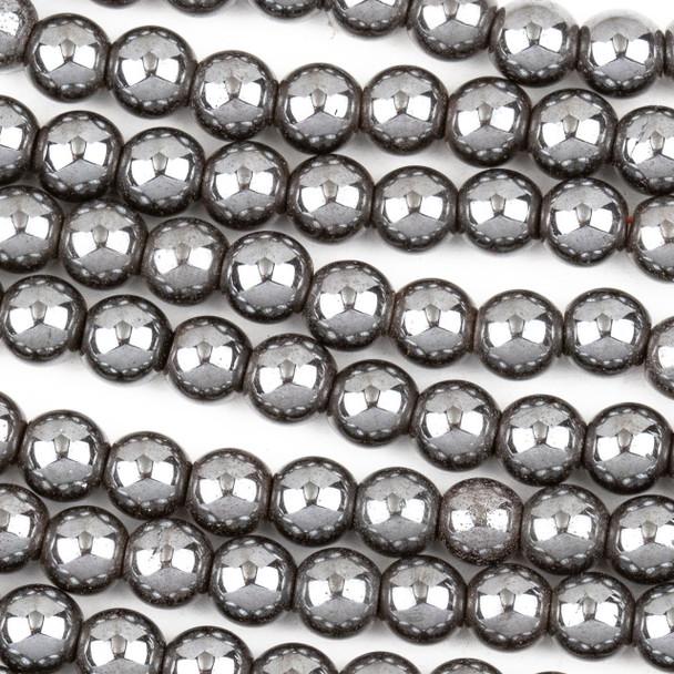 Hematite 6mm Round Beads - approx. 8 inch strand