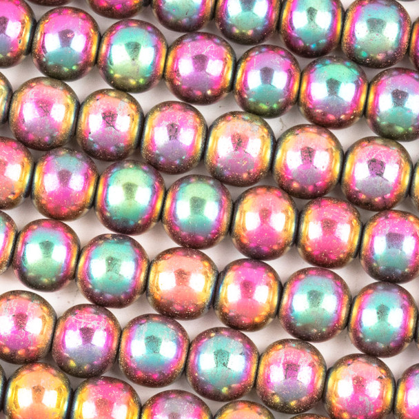 Hematite 8mm Electroplated Fuchsia Rainbow Round Beads - approx. 8 inch strand