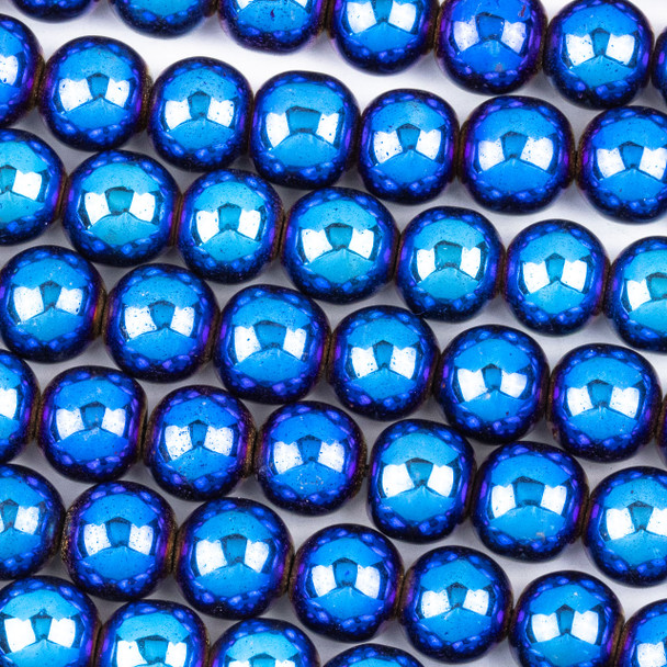 Hematite 8mm Electroplated Blue Round Beads - approx. 8 inch strand