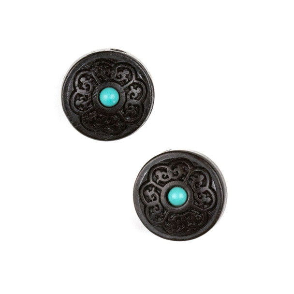 Carved Wood Focal Bead - 15mm Black Sandalwood Coin with Blue Howlite Center, 1 per bag