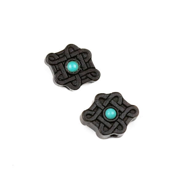 Carved Wood Focal Bead - 12x16mm Black Sandalwood Chinese Knot with Blue Howlite Center, 1 per bag