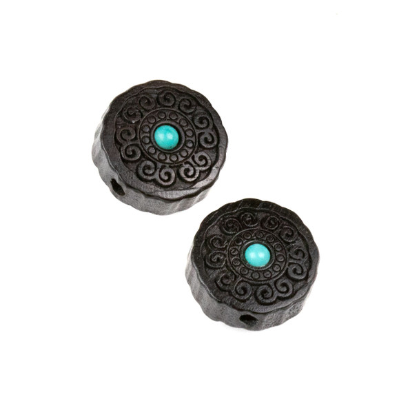 Carved Wood Focal Bead - 16mm Black Sandalwood Coin with Blue Howlite Center and Swirls, 1 per bag