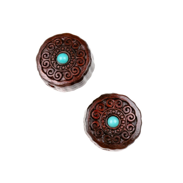 Carved Wood Focal Bead - 16mm Sandalwood Coin with Blue Howlite Center and Swirls, 1 per bag