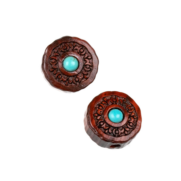 Carved Wood Focal Bead - 16mm Sandalwood Coin with Blue Howlite Center and Moon Phases, 1 per bag