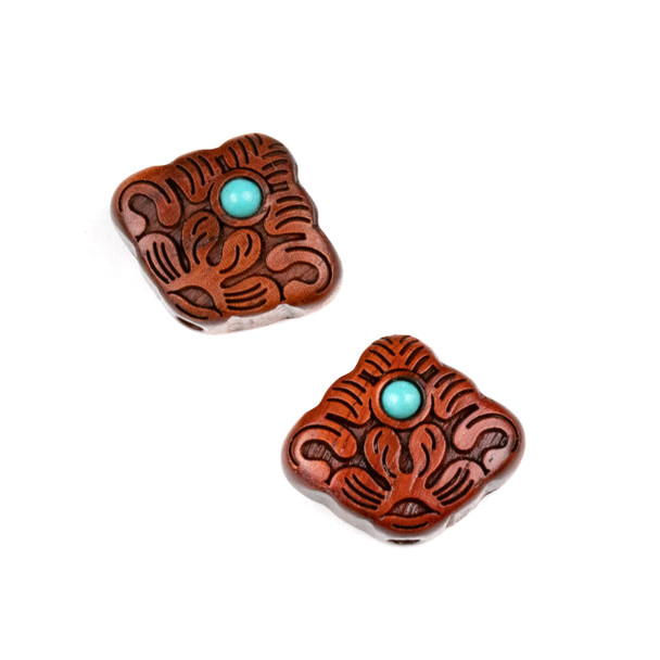 Carved Wood Focal Bead - 10x16mm Sandalwood Lotus with Blue Howlite Center, 1 per bag