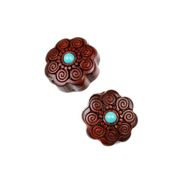 Carved Wood Focal Bead - 16mm Sandalwood Flower with Blue Howlite Center and Spirals, 1 per bag