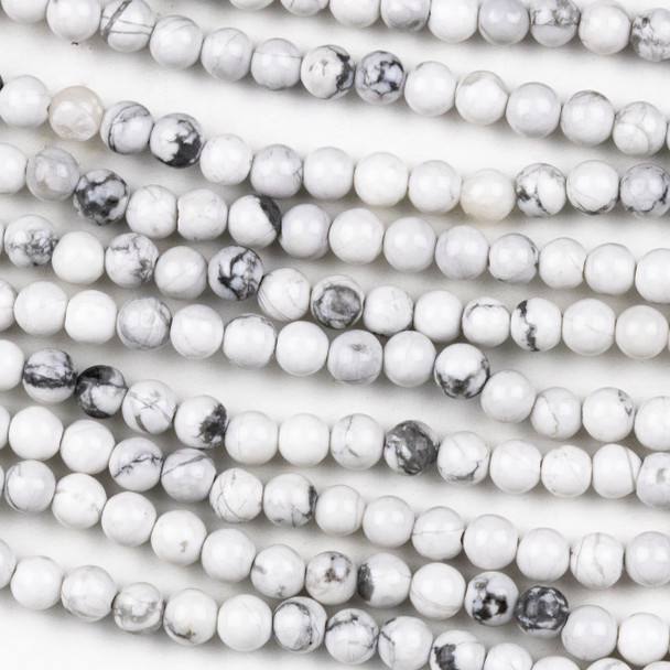 Howlite 4mm Round Beads - approx. 8 inch strand, Set A