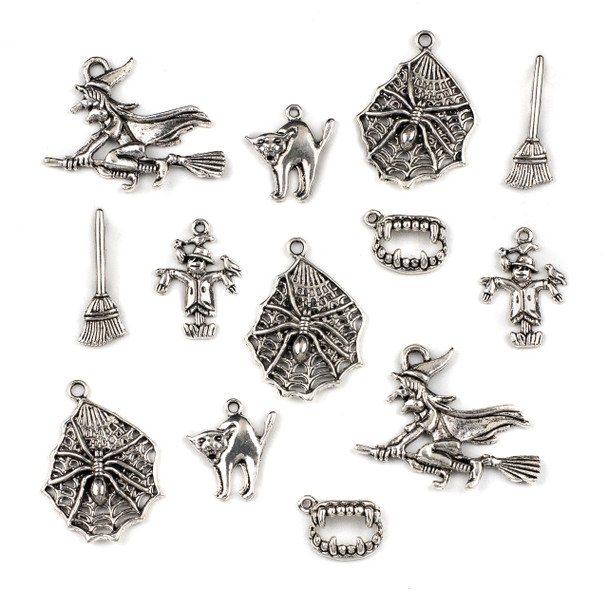 Mix of 12 Halloween Themed Pewter Charms