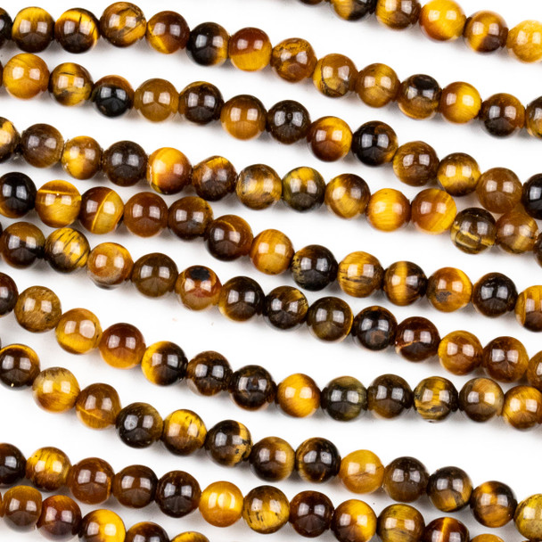 Yellow Tigereye 4mm Round Beads - approx. 8 inch strand, Set A