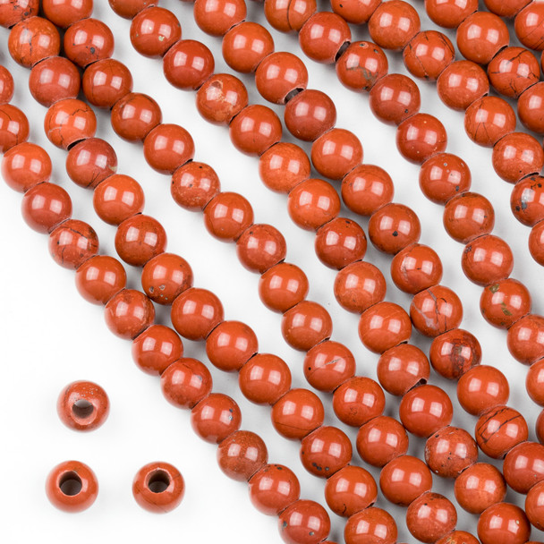 Large Hole Red Jasper 6mm Round Beads with a 2.5mm Drilled Hole - approx. 8 inch strand