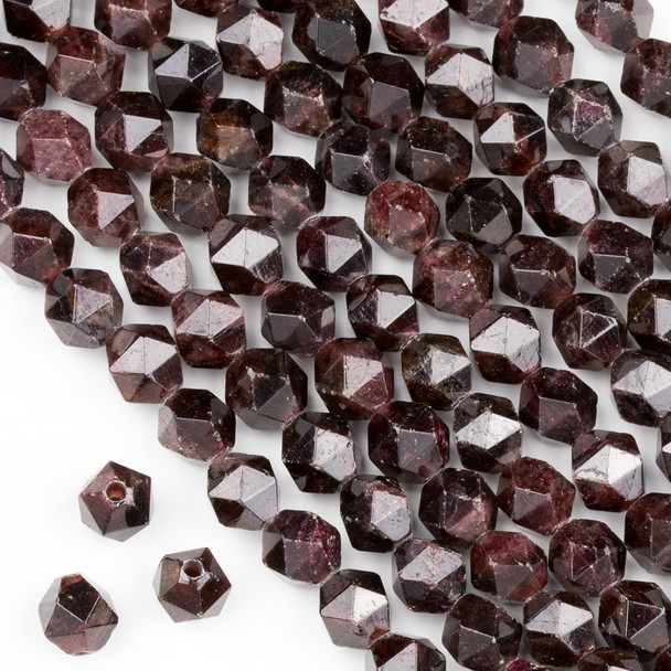 Large Hole Garnet Jasper 10mm Simple Faceted Star Cut Beads with a 2.5mm Drilled Hole - approx. 8 inch strand
