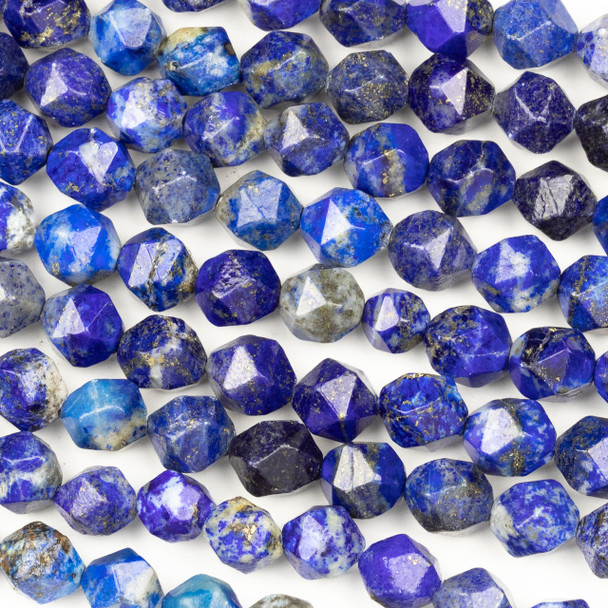 Lapis 10mm Simple Faceted Star Cut Beads - 15 inch strand