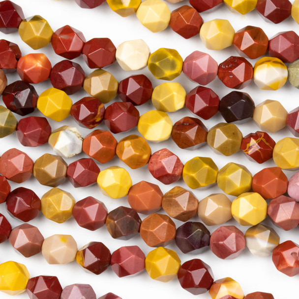 Mookaite 8mm Simple Faceted Star Cut Beads - 15 inch strand
