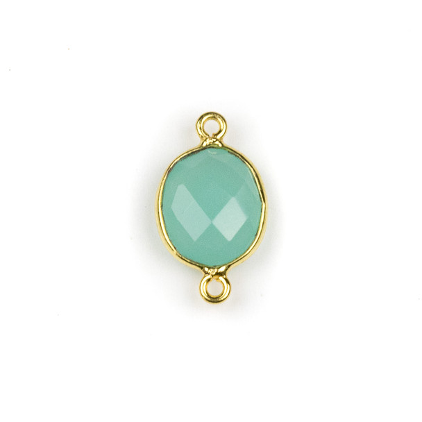 Aqua Chalcedony approximately 12x20mm Oval Link with a Gold Plated Brass Bezel - 1 per bag