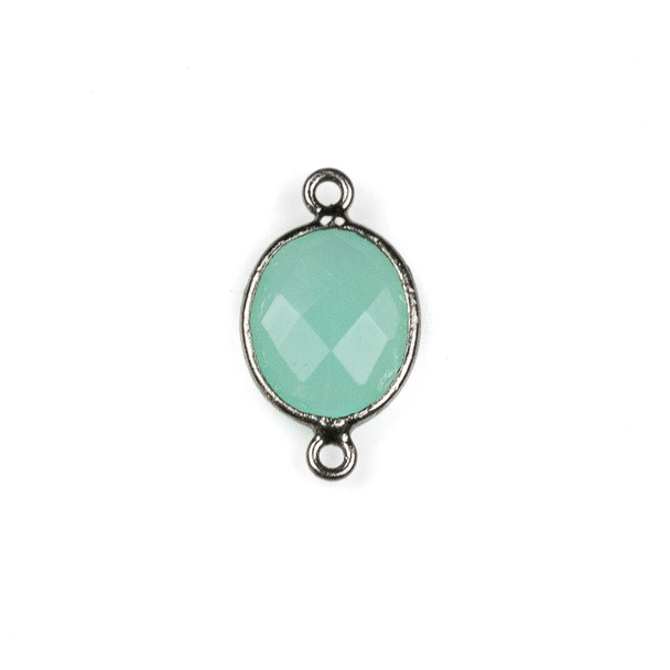 Aqua Chalcedony approximately 12x20mm Oval Link with a Gun Metal Plated Brass Bezel - 1 per bag