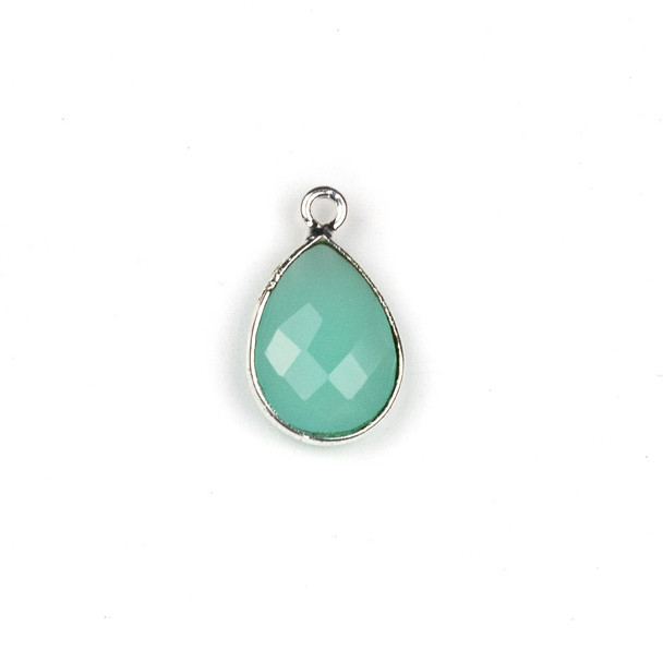 Aqua Chalcedony approximately 11x19mm Teardrop Drop with a Silver Plated Brass Bezel - 1 per bag