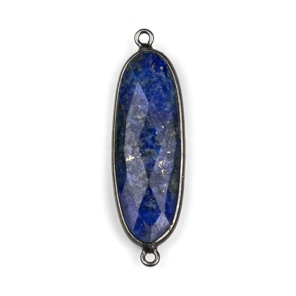 Lapis approximately 12x38mm Oval Link with a Gun Metal Plated Brass Bezel - 1 per bag