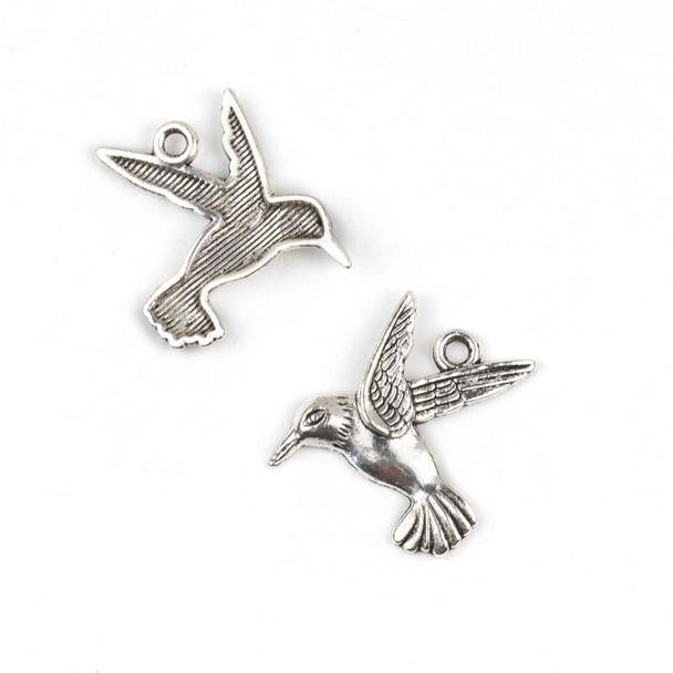 Silver Pewter 23x25mm Hummingbird Charm - 10 per bag