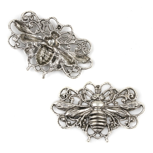 Silver Pewter 29x45mm Flying Bug Link Pendant - 3 per bag