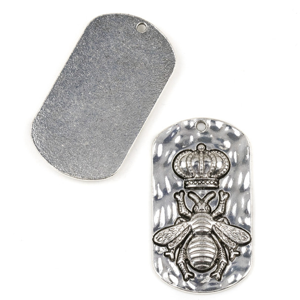 Silver Pewter 30x54mm Queen Bee Pendant - 2 per bag