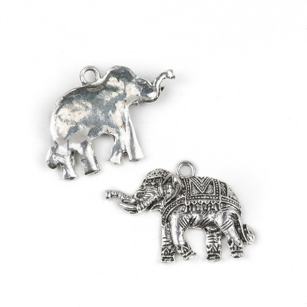 Silver Pewter 30x39mm Small Fancy Elephant Pendant - 3 per bag