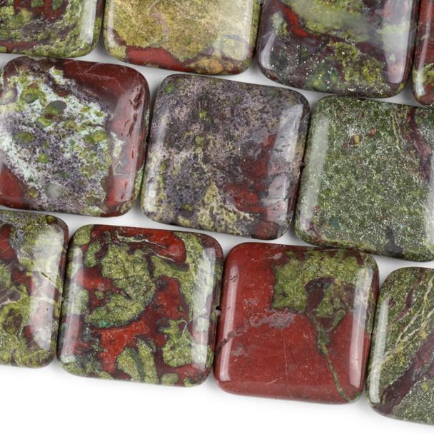 Dragon Blood Jasper 25mm Square Beads - 15 inch strand