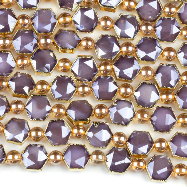 Crystal 10x12mm Opaque Purple Faceted Hexagon Beads with Golden Foil Edges - 6 inch strand