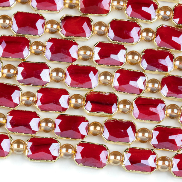 Crystal 10x14mm Opaque Red Faceted Rectangle Beads with Golden Foil Edges - 7 inch strand