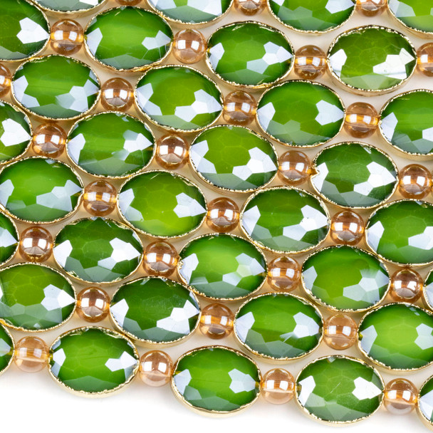 Crystal 12x16mm Opaque Green Faceted Oval Beads with Golden Foil Edges - 8 inch strand
